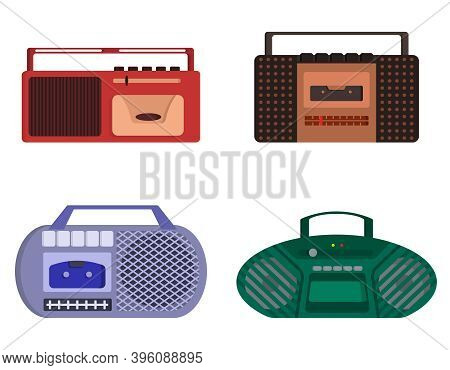Set Of Retro Tape Recorders. Outdated Equipment In Cartoon Style.