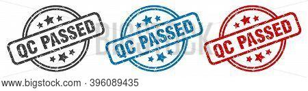Qc Passed Stamp. Qc Passed Round Isolated Sign. Qc Passed Label Set