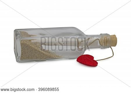 Message In The Bottle Isolated On White Background, Studio Shot
