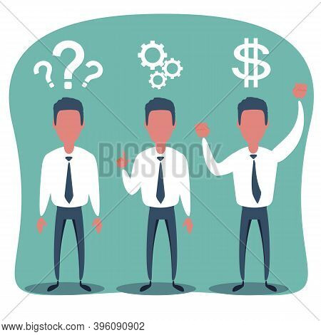 Thinking. Businessman Solving A Problem Business Concept. Stock Illustration For Poster, Greeting Ca