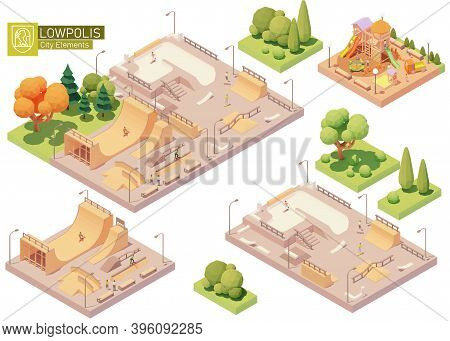 Vector Isometric Playground And Skatepark. Modern Colorful Wooden Children Playground. Concrete And
