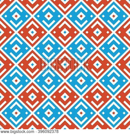 Abstract Geometric Seamless Rhombuses Pattern. Stylish Texture. Repeating Ethnic Ornament. Blu And R