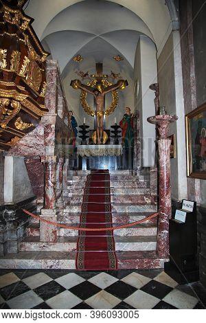 Ljubljana, Slovenia - 30 Apr 2018: Cathedral Of St. Nicholas, Stolnica Sv. Nikolaja In Ljubljana, Sl