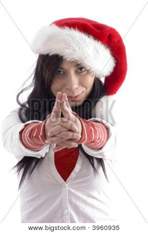 Young Pretty Woman Posing With Hand Gesture