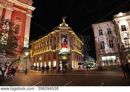 Ljubljana, Slovenia - 29 Apr 2018: The Vintage House On Preseren Square At Night, Ljubljana, Sloveni