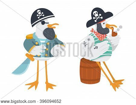 Vector Funny Seagull Pirate Captain With A Cutlass. Smoking Sailor Animal With Neckerchief.