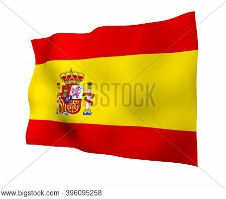 The Flag Of Spain. Official State Symbol Of The Kingdom Of Spain. Concept: Web, Sports Pages, Langua
