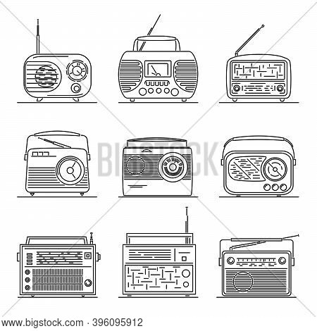 Set Of Simple Vector Images Of Retro Transistor Radio Drawn In Art Line Style.
