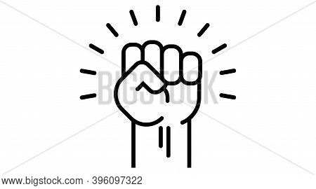Fist Up Power Concept Of Protest, Rebel, Political Demands, Revolution, Unity, Cooperation, Lives Ma