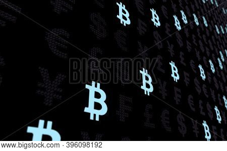 Bitcoin And Currency On A Dark Background. Digital Crypto Currency Symbol. Business Concept. Market