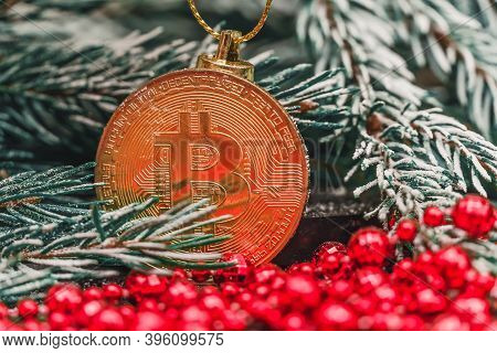 Gold Bitcoin Hanging On A Snowy Branch Of A Christmas Tree With Red Beads Close-up. Beautiful Christ