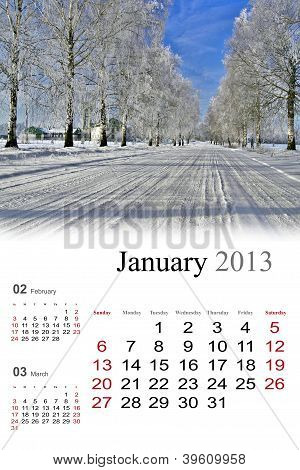 2013 Calendar. January.