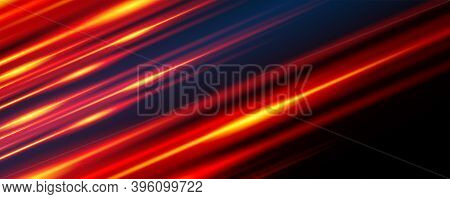Glowing Line Banner. Gaming Background. Light And Stripes Moving Fast.