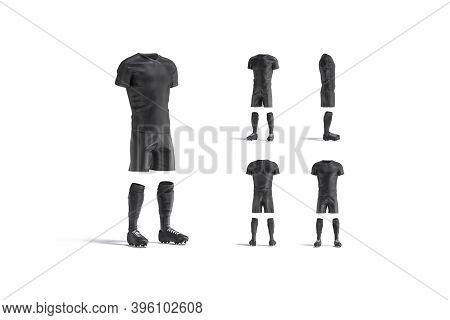 Blank Black Soccer Uniform With T-shirt, Short, Socks, Boots Mockup, 3d Rendering. Empty Football Te