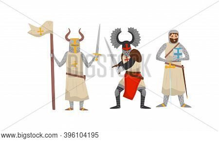 Crusaders In Iron Armour Suit And Sharp Sword Vector Set
