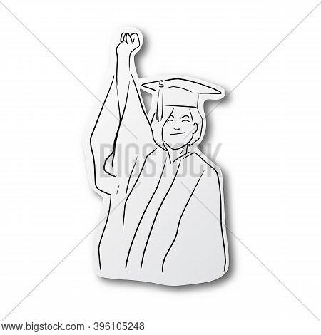 Vector Illustration Black Line Hand Drawn Of Successful Female University Student Wearing Mortar Cap