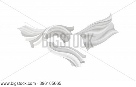 Fluttering White Cloth Or Fabric Isolated On White Background Vector Set