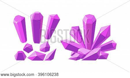 Crystals And Gemstones Of Different Shapes. Set Of Pink Stalagmite, Crystals And Pieces Of Amethyst