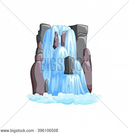 Waterfall Cascade In Mountains. Cascade Of Water In Jungle Mountains Isolated In White Background. V