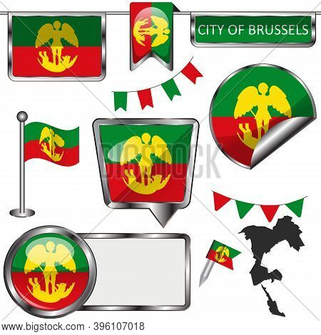 Flag Of City Of Brussels, Belgium. Vector Image