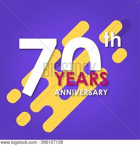 70 Years Anniversary Logo Isolated On Abstract Background. 70th Anniversary Banner. Birthday, Celebr