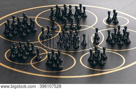 3d Illustration Of Many Pawns Grouped Together Into Golden Circles Over Black Background. Market Seg