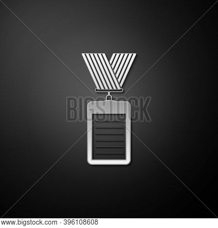 Silver Identification Badge Icon Isolated On Black Background. Identification Card. It Can Be Used F