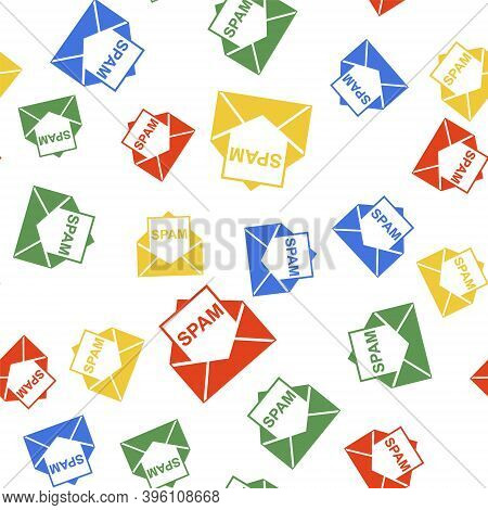Color Envelope With Spam Icon Isolated Seamless Pattern On White Background. Concept Of Virus, Pirac