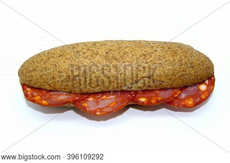 Chorizo Sandwich Typical Spanish Spiced Sausage On Spanish Wholemeal Bread Mollete