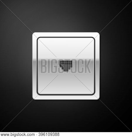 Silver Ethernet Socket Sign. Network Port - Cable Socket Icon Isolated On Black Background. Lan Port