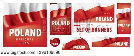 Vector Set Of Banners With The National Flag Of The Poland