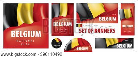 Vector Set Of Banners With The National Flag Of The Belgium