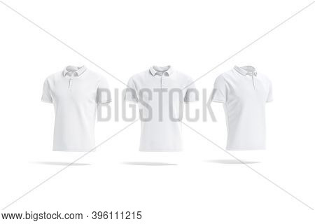 Blank White Polo Shirt Mockup, Front And Side View, 3d Rendering. Empty Male Tee-shirt With Collar F