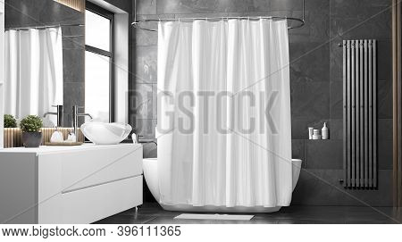 Blank White Closed Shower Curtain Mock Up, Front View, 3d Rendering. Empty Toilet Apartment With Bat