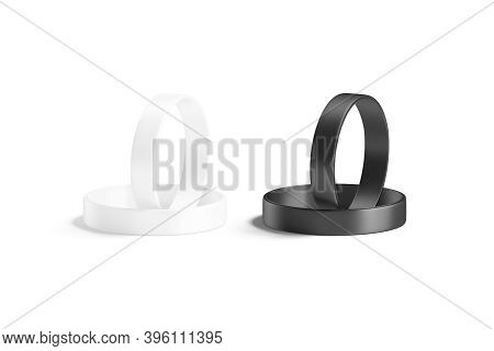 Blank Black And White Silicone Wristband Mockup Lying And Stand, 3d Rendering. Empty Elastic Wrist B