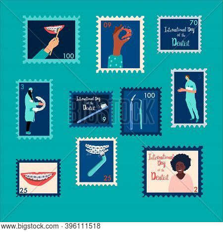 Set Of Orthodontic Themed Postmarks.international Day Of The Dentist.oral Care And Daily Routine.doc