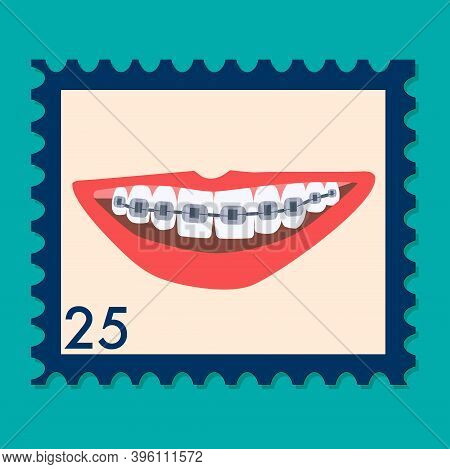 Orthodontic Themed Postage Stamp.human Mouth With Braces On Teeth. Bite Correction With Metal Wire.o