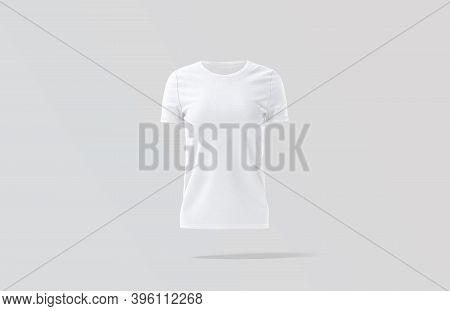Blank White Women T-shirt Mock Up, Gray Background, 3d Rendering. Empty Basic Female Clothes Model M