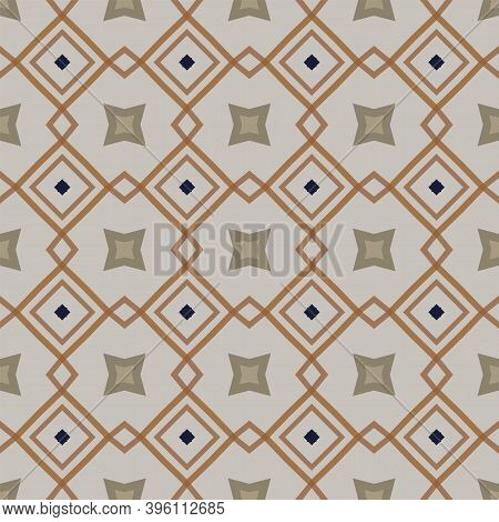 Seamless Illustrated Pattern Made Of Abstract Elements In Light Gray, Blue And Shades Of Brown