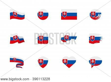 Slovakia Flag - Flat Collection. Flags Of Different Shaped Twelve Flat Icons.
