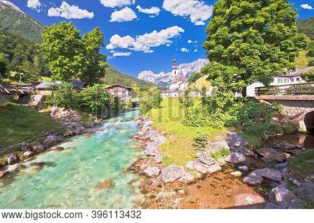 Sankt Sebastian Pilgrimage Church With Alpine Turquoise River Alpine Landscape View, Ramsau, Nationa