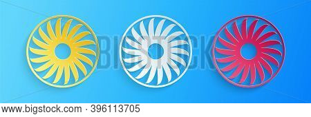 Paper Cut Ventilator Symbol Icon Isolated On Blue Background. Ventilation Sign. Paper Art Style. Vec