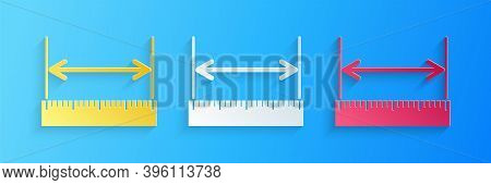 Paper Cut The Measuring Height And Length Icon Isolated On Blue Background. Ruler, Straightedge, Sca