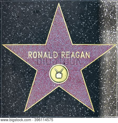 Los Angeles, Usa - July 16, 2006: Ronald Reagan's Star On Hollywood Walk Of Fame  - Hollywood Boulev
