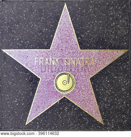 Los Angeles, Usa - July 16, 2006: Frank Sinatras Star On Hollywood Walk Of Fame  - Hollywood Bouleva