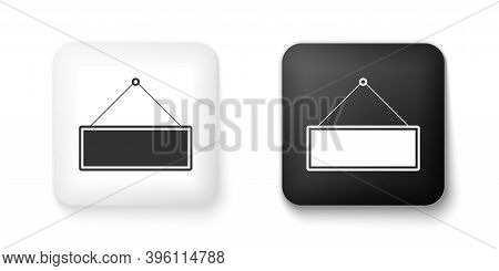 Black And White Signboard Hanging Icon Isolated On White Background. Suitable For Advertisements Bar