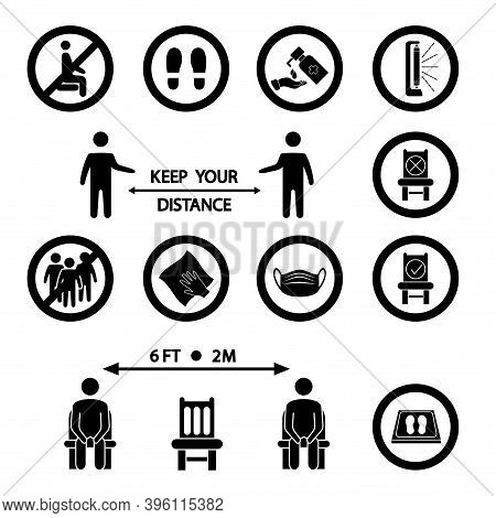 Keep Your Distance. Social Distancing Rules. Forbidden Icon For Seat. Distancing Sitting. Sanitizing