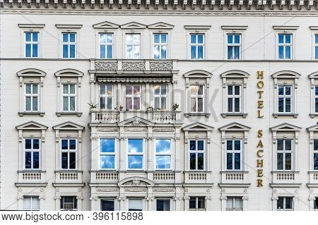Vienna, Austria - April 22, 2009: Facade Of Hotel Sacher In Vienna, Austria.the Privately Owned 5 St