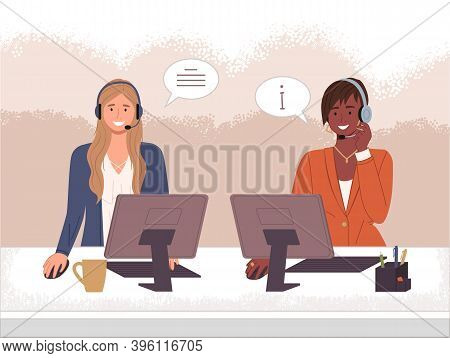 Characters Female Call Center Hotline. Online Support Worker, Telephone Service Operator. Dispatcher