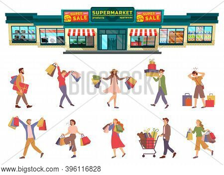 Group Of People Is Rejoicing With Packages With Purchases In Their Hands. Men And Women Are Picking